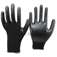 NMSAFETY 13 jauge tricoté sans couture doublure en polyester noir paume enduit gants de sécurité de travail en nitrile noir pour l'industrie légère