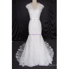 New Elegant Tüll und Spitze Appliques Sleeveless Brautkleid