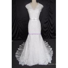 Novo elegante tule e laço apliques vestido de noiva sem mangas