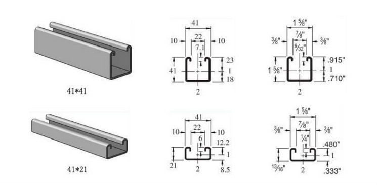 profile size for solar strut channel