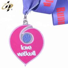 Projete suas próprias medalhas de forma de coração de esmalte de metal personalizado