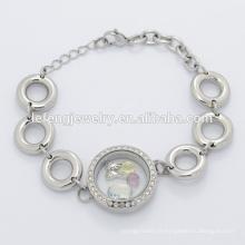 Nouveau design en acier inoxydable magnétique argent grande perle chaîne bracelet pour la fabrication de bijoux