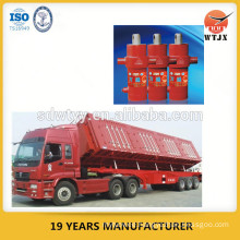 telescopic hydraulic cylinder for side-dumping semi-trailer