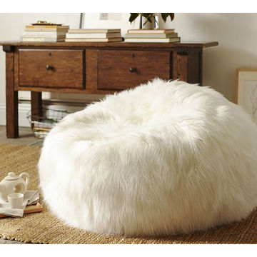 China Beanbag White Floor Pillow Pouf Polyester Blend , Long Shaggy ...
