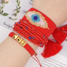 Handmade 3PCS One Set Devil Eye Wide Design Knitting Tassel Miyuki Beads Beaded Jewelry Friendship Bracelets for Women
