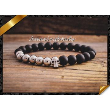 Metal cráneo de aleación encantos brazaletes de perlas con joyería de piedra (CB032)