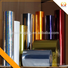 Colorful transfer printed laminated film with golden designs