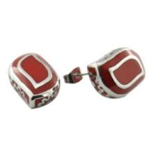 Cadeau de Noël Boucles d'oreilles en émail rouge élastique Boucle d'oreille personnalisée