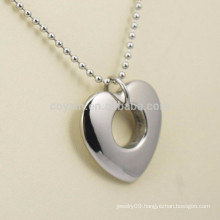 Silver Stainless Steel Hollow Heart Charm Necklace For Girlfriends