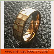 De alta calidad de acero inoxidable Shell con incrustaciones anillo de dedo de la joyería (SSR2693)