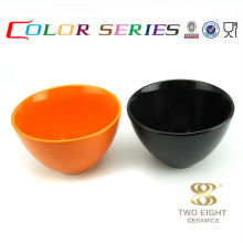 8 inch ceramic pudding soup mixing black bowl for restaurant