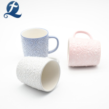 Hot Sales Modern Design Ceramic Relief Cup Mug With Handle