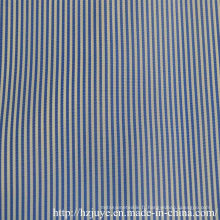 Tissu teint de fil (rayure bleue)