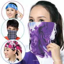 100% Polyester Microfaser Azo Free Multifunktionale Nahtlose Halstuch Bandana Benutzerdefinierte Logo Tube Fashion Schal