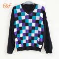 Lattice Design Men Plaid Checkeres Intarsia Sweater