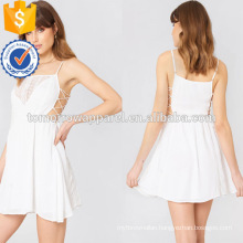White Cotton Tied Up Embroidered Spaghetti Strap Mini Summer Dress Manufacture Wholesale Fashion Women Apparel (TA0238D)