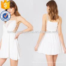 Белый хлопок связали вышитые спагетти ремень мини-летнее платье Производство Оптовая продажа женской одежды (TA0238D)