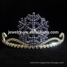 fancy hair accessories silver plated crystal snowflake tiara and crown headband
