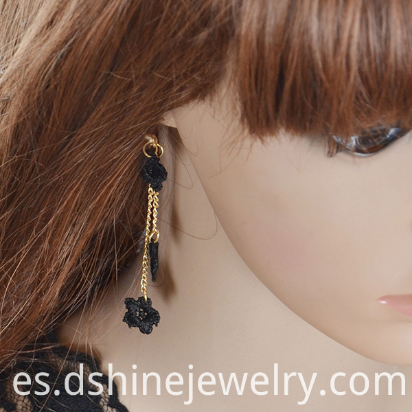 Black Lace Tassel Long Earring