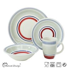 20PCS Ceramic Dinner Set Hand Painted Color Circles