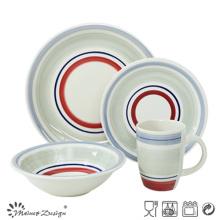 Juego de vajilla de cerámica de 20 piezas pintado a mano con círculos de colores