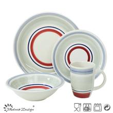 20PCS Ceramic Dinnerware Set Handpainted with Colored Circles
