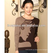 Cachemira tejer mujeres suéter cuello redondo