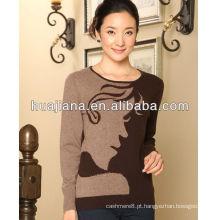Cashmere tricô feminino suéter crewneck