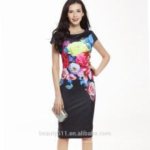 Китай бесплатный образец одежда оптом Европейская одежда Цветочный платье Леди платье SD05