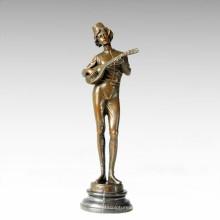 Танцовщица фигуры Статуя музыкального игрока Бронзовая скульптура TPE-191