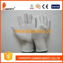 Weiße PVC Punkte One-Side-Nylon-Schutzhandschuhe mit CE (DKP413)