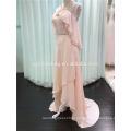Frente Curto Longo Retorno Halter Africano Evening Dress Padrão Crossed Back Handmade Flowers Elegant Evening Dresses Made in ChinaC3