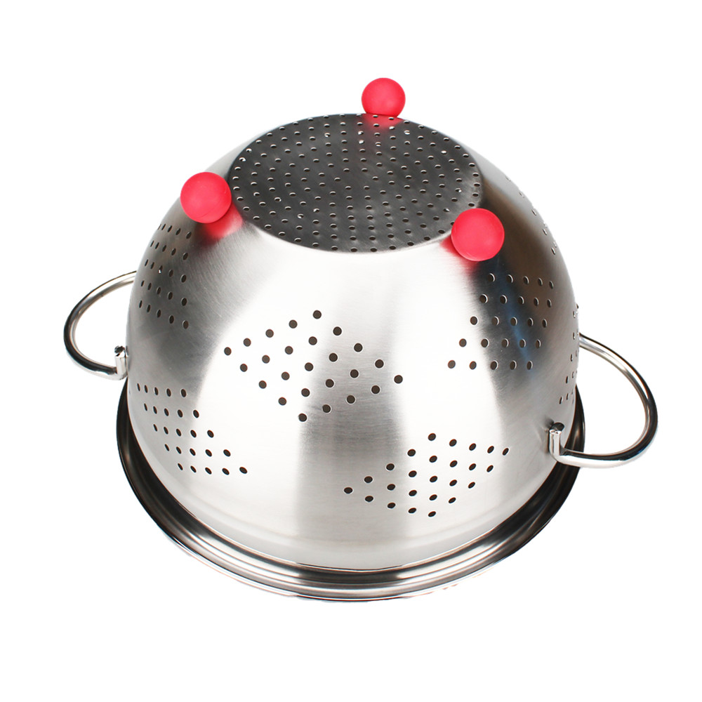 Stainless Steel Colander With Red Ball Stand