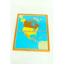 Монтессори материальные игрушки - Северная Америка головоломка карта с Beechwood FRAME