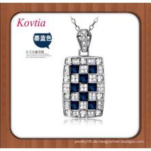 Heiße Verkaufssilberkettenhalskette große quadratische blaue Kristallanhängerhalskette halb kostbare Steine
