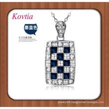 hot sale silver chain necklace big square blue crystal pendant necklace semi precious stones