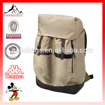 Fashion leather-trimmed canvas backpack for outdoor adventures (ES-Z329)