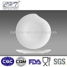 Elegant different sizes white fine bone china shallow bowl