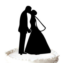 Romantic Bride and Groom Kissing Wedding Silhouette Cake Topper