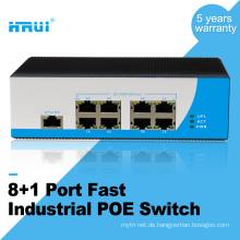 IP40 Netzteil Reverse Connection Schutz 100M Outdoor 9 Ports Industrie PoE-Switch