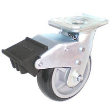EH07 Swivel PU Caster with Dual Brake (Black)