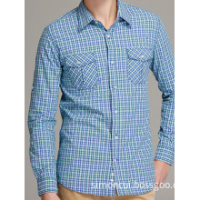 Man Cotton Plaid Long Sleeve Slim Fit Shirt