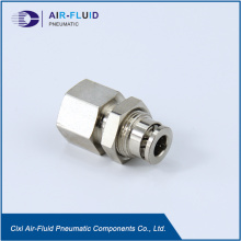 Air-Fluid Pneumatic Metal Female Bulkhead Fittings.