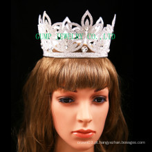 Flor Design Full Crown Rhinestone Tiara Para Bridal