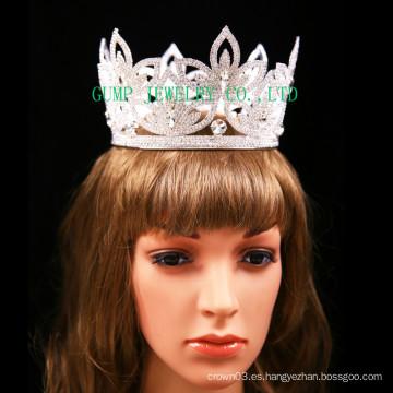 Tiara del Rhinestone de la corona completa del diseño de la flor para nupcial
