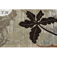 Silver Backing with Dark Leaves Jacquard Sofa Fabric in Chinese