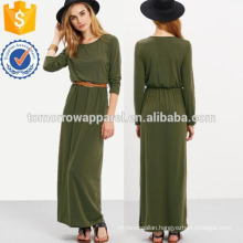 Long Sleeve Pockets Maxi Dress Manufacture Wholesale Fashion Women Apparel (TA3215D)