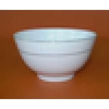 weiße Keramikfußschale mit Goldlinie