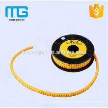 Luva de cabo de marcador de cabo de número amarelo de 1.5mm2 com material de PVC, disponível em várias cores, aprovação CE