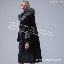 Hooded Mink Fur Overcoat För Lady In Winter